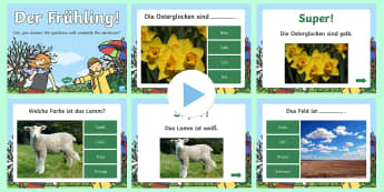 Spring Words and Colours Quiz PowerPoint German - Spring, Colours, German, Deutsch