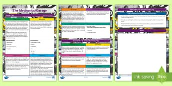 ROI Mechanics/The Garage Aistear Planning Template - Aistear, Infants, English Oral Language, School, The Garda Station, The Hairdressers, The Airport, T