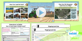 PlanIt - Geography Year 4 - Somewhere to Settle Lesson 4: How is Land Used in Settlements? Lesson Pack - geography, settlement, settlers, land use, maps, comparison
