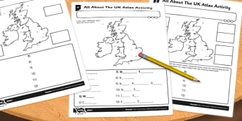 UK Atlas Activity Sheet - uk, atlas, activity, sheet, worksheet