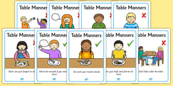 Table Manners Rules Display Posters - Table Manners Rules Display Poster, table manners, manners, rules, display, poster, sign, good manners, good behaviour, behaviour, eating, food, lunch, table, break