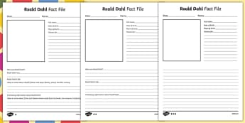 Roald Dahl Differentiated Fact File Activity Sheet Pack, worksheet