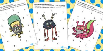 Number Recognition Monster Worksheet - monster, number, worksheet