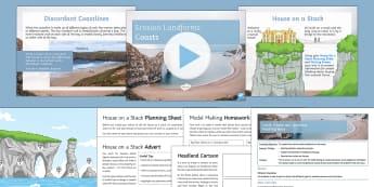 Coasts 3: Erosion and Landforms Lesson Pack - Physical, Landscapes, UK, AQA, GCSE, arch, stack, stump, cave, crack, headland, bay