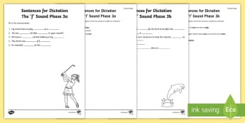 Northern Ireland Linguistic Phonics Stage 5 and 6, Phase 3a and 3b, 'f' Dictation Sentences Activity - Linguistic Phonics, Stage 5, Stage 6, Phase 3a, Phase 3b, Northern Ireland, sentences, dictation, wo