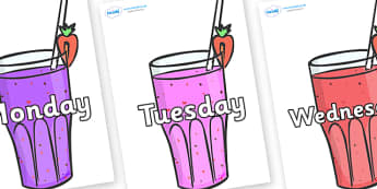 Days of the Week on Smoothies - Days of the Week, Weeks poster, week, display, poster, frieze, Days, Day, Monday, Tuesday, Wednesday, Thursday, Friday, Saturday, Sunday