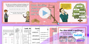 PlanIt Spelling Year 3 Term 3A W4: Word Families Based on Common Words: 'Struct' and 'Uni' Spelling Pack - Spellings, Year 3, Term 3A, W4, word families, common words, meaning, struct, uni