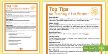 Teaching in Hot Weather Top Tips - heat wave, hot weather, teaching in heat wave, keeping cool, teaching outdoors