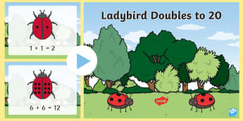 Ladybird Doubles to 20 PowerPoint - doubles to 20, doubles, double, doubling, ladybird, labybirds