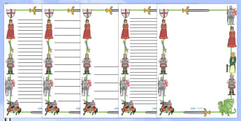 St George And The Dragon Page Borders - St George, princess, maiden, dragon, Margaret Hodges, page border, border, writing template, writing aid, writing, king, story book, book, book resources, story