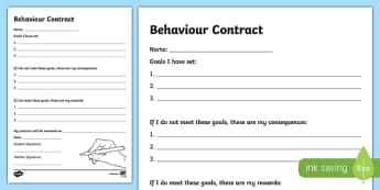 Behaviour Contract Writing Activity Sheet -Australia, worksheet