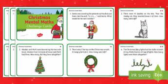 Year 1 Christmas Mental Maths Challenge Cards - Christmas, year 1, KS1, themed, maths, numeracy, mental maths, adding, subtracting, addition, subtra