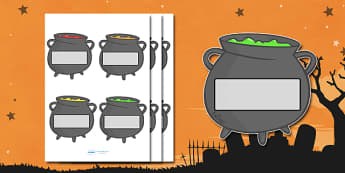Editable Halloween Cauldrons Self Registration - Halloween, pumpkin, witch, bat, scary, black cat, Self registration, register, editable, labels, registration, child name label, printable labels, mummy, grave stone, cauldron, broomstick, haunted hous