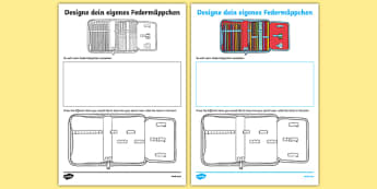 Design Your Own German Pencil Case Activity Sheet, worksheet