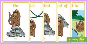 Monkey Positional  A4 Display Poster - maths, mathematics, shape, space, measure, position, can describe their position
