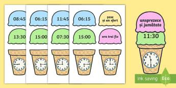 Citește ceasul de pe cupele de înghețată Activitate - timpul, ceasul, citirea ceasului, unități de măsură, măsurări, activități, jocuri,Romanian