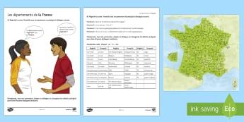 Les départements de la France pour pratiquer les nombres : dialogues - french, Numbers