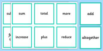 Addition and Subtraction Operations Words Cards - addition, subtraction, operations, words, cards