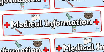 Medical Information Display Banner  - medical information, inhalers, dietry, allergy, allergy information, allergies, pupil information, pupils, poster, sign, sheet, display