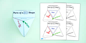 Parts of a 3D Shape Interactive Visual Aid - shapes, 3D shapes, 3D shapes, attributes, face, edge, vertex