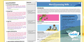 PlanIt - Computing Year 3 - Word Processing Skills Planning Overview