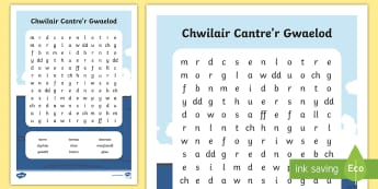 Chwlair Cantre'r Gwaelod - Cantre'r, gwaelod, wordsearch, chwilair, reading, darllen , Cymraeg, Welsh, legend, story, Gwyddno,