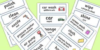 Car Wash Role Play Word Cards Romanian Translation - romanian