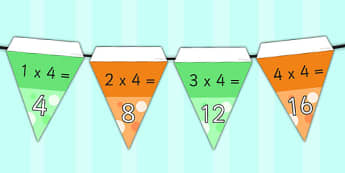 4 Times Table Bunting - 4, times table, times tables, display bunting, display