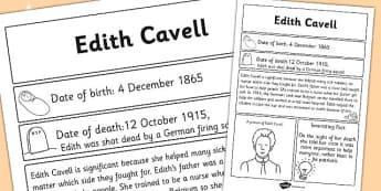 Edith Cavell Significant Individual Fact Sheet - fact sheet