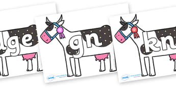 Silent Letters on Cow to Support Teaching on What the Ladybird Heard - Silent Letters, silent letter, letter blend, consonant, consonants, digraph, trigraph, A-Z letters, literacy, alphabet, letters, alternative sounds