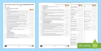 AQA (Trilogy) Unit 4.7 Ecology Student Progress Sheet - Student Progress Sheets, AQA, RAG sheet, Unit 4.7 Ecology, KS4, progress, checklist, assessment