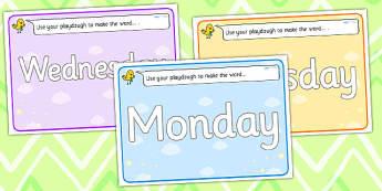 Days of the Week Playdough Mats - days of the week, days, weeks, playdough mats, play dough mats, play doh mats, playdough, play doh, fine motor skills