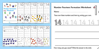 Number Formation Workbook (10-20) - Handwriting, number formation, number writing practice, workbook, foundation, numbers, foundation stage numeracy, writing, learning to write