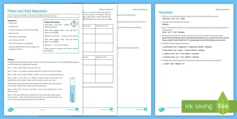 Metal and Acid Reactions Investigation Instruction Sheet Print-Out - Investigation Help Sheet, science practical, method, instructions, metal, metals, acid reactions, ma