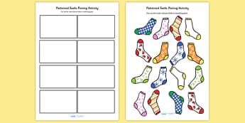 Patterned Socks Pairing Activity - patterns, matching, pairs