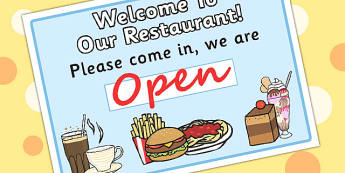 Restaurant Role Play Pack Open Sign - food, roleplay, prop, signs