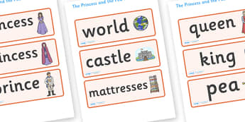 The Princess and the Pea Word Cards - The Princess and the Pea, Word cards, Word Card, flashcard, flashcards, prince, queen, princess, pea, castle, fairytale, traditional tale, Hans Christian Andersen, story, story sequencing,