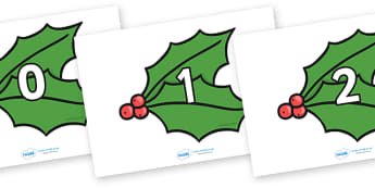 Numbers 0-30 on Holly Leaves - Christmas, xmas, angels, advent, nativity, santa, father christmas, Jesus, tree, stocking, present, activity, cracker, angel, snowman, advent , bauble, Foundation Numeracy, Number recognition, Number flashcards, 0-30, A