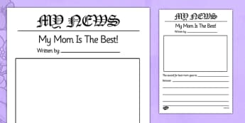 World's Best Mom Newspaper Template - usa, america, worlds best mum newspaper template, worlds best, mum, mum, best mum, newspaper, template, templates, mother, world, best, writing, activity, creative