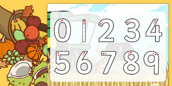 Harvest Number Formation Worksheet - harvest, number, worksheet