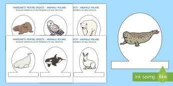 Animalele polare - Marionete pentru degete - antarctic, arctic, animale polare, română, materiale, marionete, marionete pentru degete, polar, p