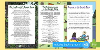 Jungle and Rainforest Songs and Rhymes Resource Pack - Jungle and Rainforest, forest, amazon, singing, song time, animal songs, monkey, parrot, elephant, r