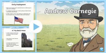 Scottish Significant Individuals Andrew Carnegie PowerPoint - CfE Scottish Significant Individuals, Andrew Carnegie, famous Scot, Scottish philanthropist, PowerPo
