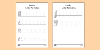 Ladder Letter Formation Activity Sheet - ladder, letter formation, worksheet
