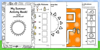Summer Activity Booklet Arabic Translation - arabic, EYFS, Early Years Key Stage 1, end of term, colouring, seasons, puzzles, games, seaside, holidays