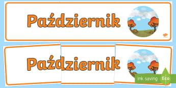 Banner na gazetkę Październik Banner  - miesiąć, miesięcy, nazwy, pażdziernik, jesień, pory roku, rok, nazwa, jesienny, gazetka, miesi