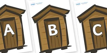 A-Z Alphabet on Sheds - A-Z, A4, display, Alphabet frieze, Display letters, Letter posters, A-Z letters, Alphabet flashcards