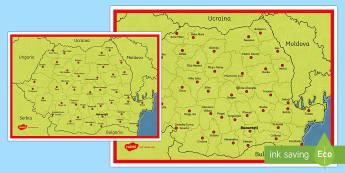 Harta României Planșă cu diferite dimensiuni - harta romaniei, românia, harta țării. harta româniei, geografie, orașele româniei, vecinii rom