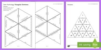 Gene Technology Tarsia Triangular Dominoes - Tarsia, gcse, biology, genetics, genetic energineering, genetic modification, GE, GM, genes, DNA, li, plenary activity