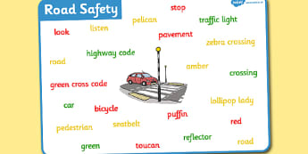 Road Safety Word Mat - road safety, word mat, mat, words, road